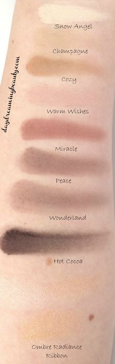 IT Cosmetics Celebration palette top row swatches - all matte shadows, plus an ombre shimmer radiance ribbon. endless eyeshadow options! daydreamingbeauty.com