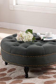 Palfrey Gray Linen Modern Tufted Ottoman