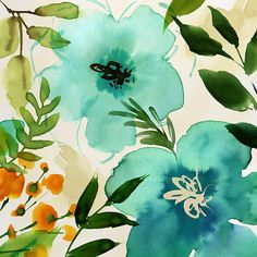 Margaret Berg Art: Teal+Painterly+Floral
