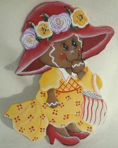 HP GINGERBREAD GIRL PLAYING DRESS-UP REFRIGERATOR MAGNET HAND PAINTED