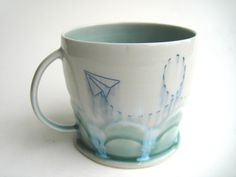 MADE TO ORDER Cloudy Paper Airplane by SilverLiningCeramics