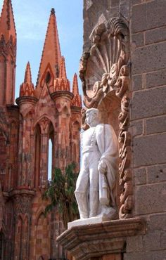 San Miguel de Allende. MEXICO, is noted for the statues and fountains throughout the town. The church is called La Parroquia.  It's right up the street from his family's home.  It's awesome.  The statue is of Ignacio Allende.