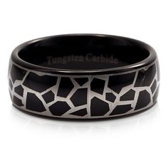 Black Leopard Pattern Tungsten Carbide Mens Ring Band Comfort Fit 8mm