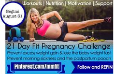 Ladies Repin and send this to all your Pregnant friends. This challenge is going to be inspiring, motivating and will help you have a fit and healthy Pregnancy! I've got so much great stuff for you. Make sure to follow this board to make sure you don't miss any of my daily challenges.