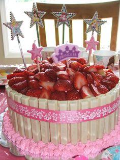 White kitkat cake with strawberries White Chocolate Kitkat Cake