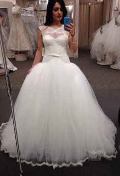 Lace and Tulle Ballgown with Illusion Neckline -