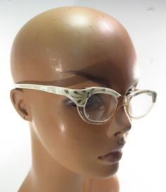 0f2ec0f6767f Vintage Pearlized White Carved Cat s Eye Eyeglass Sunglass Frames     Unbranded Sunglass Frames