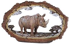 """Amazon.com: Custom & Unique {7.5"""" x 4.6"""" Inch} 1 Single, Large Home & Garden """"Standing"""" Figurine Decoration Made of Grade A Resin w/ Rhinoceros Safari Frame Carved Wood Look Style {Brown White, & Beige}: Home & Kitchen"""