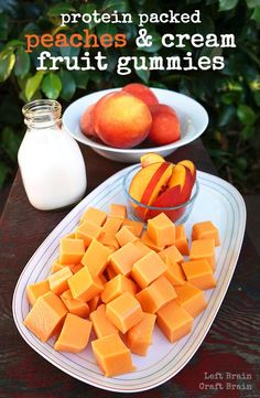 Make these delicious homemade peaches and cream fruit gummies for a protein-packed snack. Easy to make with only three ingredients! snacks fruit Protein Packed Peaches and Cream Fruit Gummies Recipe Protein Packed Snacks, Healthy Protein Snacks, Healthy Treats, Healthy Recipes, Healthy Food, Protein Fruit, Healthy Candy, Protein Recipes, High Protein