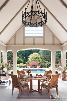 In case nature's elements should be too harsh, we made an indoor outdoor option for poolside lounging, applying architectural lines keeping with the Tudorian theme    American  GothicTudor  Garden  Grounds  Patio  Pool  Porch by Wadia Associates