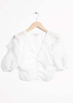 Sheer Puff Shoulder Blouse - White - & Other Stories