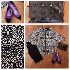 Apricot Lane Boutique 601.707.5183 We have got a trending outfit for today... classic black and white with a dash of purple. @renaissanceatcolonypark @apricotlaneridgeland #shoprenaissance #apricotlane #fashion2013 #fall2013 #black #white #purple
