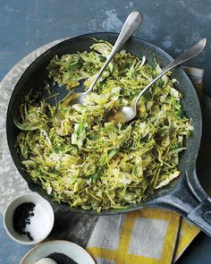 * Shredded Brussels Sprouts With Lemon and Poppy Seeds - Whole Living Eat Well. - Tasty way to eat brussels sprouts if you like them! Veggie Dishes, Vegetable Recipes, Vegetarian Recipes, Healthy Recipes, Side Dishes, Fall Recipes, Think Food, Food For Thought, Love Food