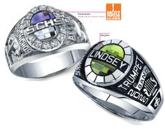 This retro styled ring for girls comes in a variety of different styles. The Alliance ring has 9 top settings.  Customize your ring today at highschool.herffjones.com
