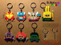 Avengers Magnets, Charms and Keychains from Perler Beads by DJbits on etsy