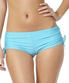 Look at this #zulilyfind! Turquoise Adjustable Boy Short Bikini Bottoms #zulilyfinds