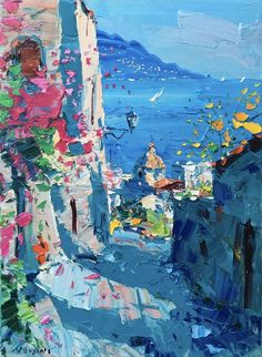 """Positano"" by agostino veroni. Oil painting on Canvas, Subject: Landscapes, sea and sky, Impressionistic style, One of a kind artwork, Signed certificate of authenticity, This artwork is sold unframed, Size: 50.8 x 68.58 x 2.54 cm (unframed), 20 x 27 x 1 in (unframed), Materials: oil paints"