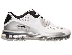 big sale 82198 e038f NIKE AIR MAX 90 LTR QS LEATHER WHITE SILVER BLACK 646909 102 Size Mens 9.5…