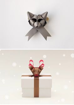 DIY Ribbon folding - animal shapes as in origami but with ribbon! Ribbon Art, Ribbon Crafts, Paper Crafts, Diy Ribbon, Paper Ribbon Bows, Gift Wrap Ribbon, Holiday Crafts, Holiday Fun, Festa Party