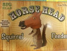 New in Box !Horse Head Squirrel Feeder - Hang from branch or deck railing.   Clicking on the View Page button will take you to our eBay store listing for this item.  When you click on the following link, it will take you to our Way Up In Alaska Novelties and Fun stuff page:    http://www.wayupinalaska.com/Novelties---Fun-Stuff.html