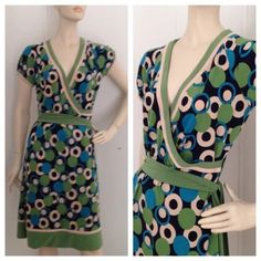 """Blue Green Polka Dot Faux Wrap Stretch Dress 6 BRAND : Dressbarn CONDITION : excellent preowned MATERIAL : 92% polyester, 8% spandex LINED : no COLOR : green blue beige SIZE : marked a 6 Bust: 35"""" Waist : 28"""" Hips :  37"""" Length : 38.5"""" Dress Barn Dresses"""