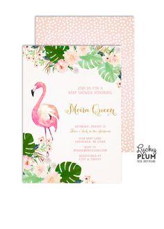 Flamingo Birthday Invitation / Luau Birthday Invitation / Tropical Birthday Invitation / First Birthday Invitation / Floral Invitation