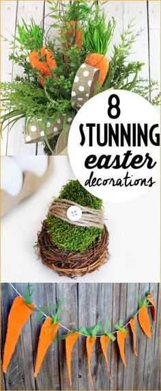 8 Stunning Easter Decorations.  Celebrate Easter with these festive table centerpieces, banners and accents.  Easter wreaths and bunny tails.