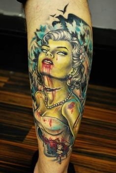 One of the coolest zombie bride tattoos I've seen yet.