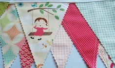 Fly a Kite Bunting Banner  Fabric Banner  by HappyLittleCottage, $30.00
