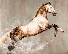 Jamie Corum   Dapple grey horse rearing art water