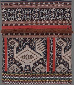 Sumbanese people Woman's ceremonial skirt [lau pahuda] c.1905 Melolo Pau domain Sumba Indonesia cotton, beads supplementary warp weave, applique, bead-work 71.0 (h) x 62.0 (w) cm (NGA)