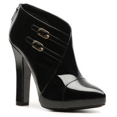 Dolce & Gabbana Patent Buckle Bootie - Black (460 CAD) found on Polyvore