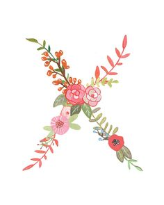 X Floral Letter Illustration Typography Print by Makewells