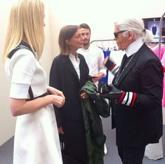 Phoebe Philo with Lagerfeld Phoebe Philo, Celine, White Outfits, Creative Director, Karl Lagerfeld, All Things, What To Wear, Black And White, Instagram Posts