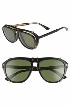215d6c3b97aba Gucci 54mm Flip-Up Aviator Sunglasses