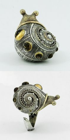"Ring | Sergey Zhiboedov one-of-a-kind design. ""Snail"". Sterling silver, 14k yellow gold, citrine, diamonds"