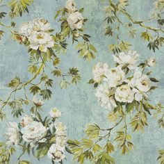 floreale grande - celadon fabric | Designers Guild The grandeur of painterly white peonies and foliage, coordinating beautifully with subtle fresco backgrounds. Very flexible florals, with distressed damasks introducing elegant, restrained structure and a real sense of space. Scaled for sensational effect in your home, and digitally printed on luxury soft-washed pure linen.