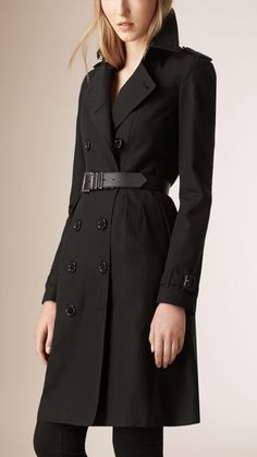 Skirted Cotton Gabardine Trench Coat