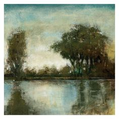 Soft brushstrokes and muted blues, greens and browns give our Serene Reflection II Wall Art a Zen-like feel.  This canvas wall art portrays a view across an id…