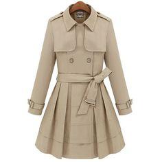Fashion Turn-down Collar Belted Lotus Hem Slim Coat
