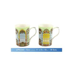 This practical and pretty stained glass window pair of boxed fine china mugs would make a stylish addition to any home Dishwasher and microwave safe