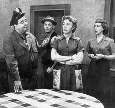 "The ""Honeymooners"" Ralph and Alice Cramden (Jackie Gleason and Audrey Meadows), Ed and Trixie Norton (Art Carney and Joyce Randolph) Ralph to Alice...I'm the King, you're nothing!"" Alice to Ralph...""Yeah, you're the King of nothing!"""