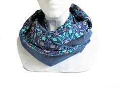 a0299ce7ccb8 snood bleu jean et turquoise en velours et tissu fleurs Turquoise Flowers,  Cache Cou,