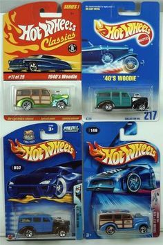 """HOT WHEELS LOT OF 4  1940'S WOODIE HARD TO FIND COLLECTIBLES 1) 1991 GREEN / BLACK '40'S WOODIE #217 2) 2003 BLUE / BLACK '40 WOODIE WILD WAVE #057 3) 2004 TAN / BLUE '40'S WOODIE CRANK ITZ #146 4) 2004 TAN / SPECTRA GREEN 1940'S WOODIE HW CLASSICS SERIES 1 #11 """"ADD THESE COOL CARS TO YOUR COLLECTION BEFORE THEY ARE GONE!!"""""""