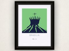 Brasilia Art Poster by iLikeMaps on Etsy