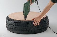 How to Make Turn an Old Tire into a Rope Ottoman - DIY & Crafts - Handimania