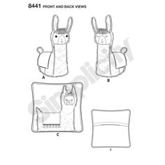 """Have fun creating a coordinating llama stuffed animal and appliqued 15"""" pillow in a plethora of colors and fabrics. Gingercake Patterns & Designs for Simplicity sewing patterns."""