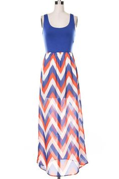 GATOR MAXI - ROYAL BLUE, ORANGE & WHITE $34.00  CHECK OUT OUR GATOR MAXI... THIS DRESS IS PERFECT FOR THOSE FLORIDA GATOR FOOTBALL GAMES!  MATERIAL: 100% POLYESTER