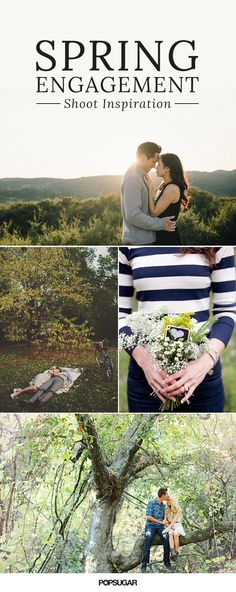 Get inspiration for your own springtime prewedding photo session with these sunny snaps complete with cherry blossoms, canoe rides, floral crowns, and park picnics.