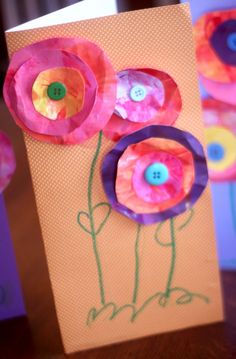 Mothers Day Card for Kids to Make - paint paper roughly, cut out circles, crumple a little then flatten. Glue together with button in centre.
